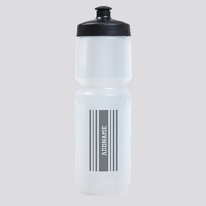 Black and White Stripe Personalized Sports Bottle