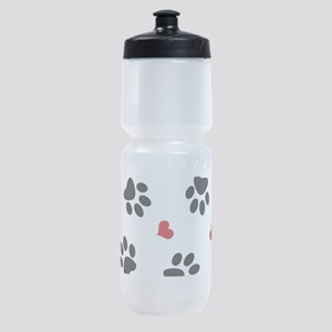 Paw Prints and Hearts Sports Bottle