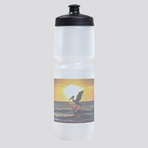 Pelican On Ocean At Sunset Sports Bottle