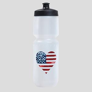 usa flag heart Sports Bottle