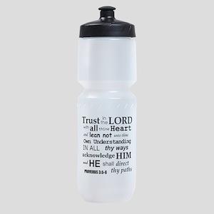 Proverbs 3:5-6 KJV Dark Gray Print Sports Bottle