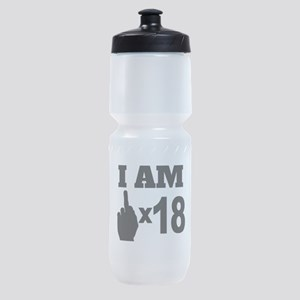 Middle Finger Times 18 Years Old Sports Bottle