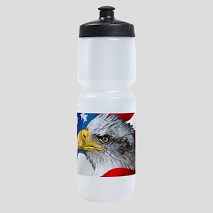 Bald Eagle On American Flag Sports Bottle