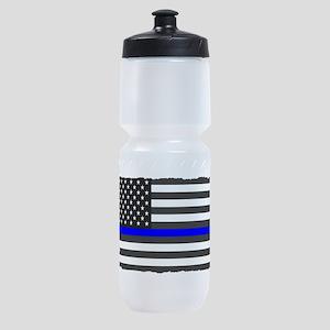 US Flag Blue Line Sports Bottle