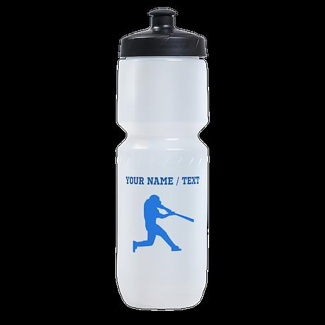 Custom Blue Baseball Batter Sports Bottle