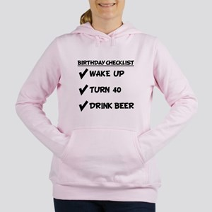 40th Birthday Checklist Drink Beer Women's Hooded