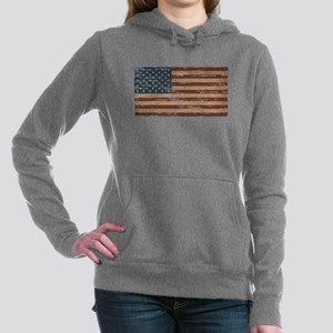 Vintage Distressed American Flag Women's Hooded Sw