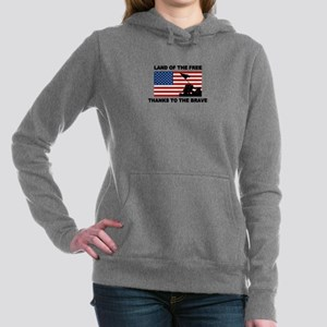 Land Of The Free Thanks To The Brave Women's Hoode