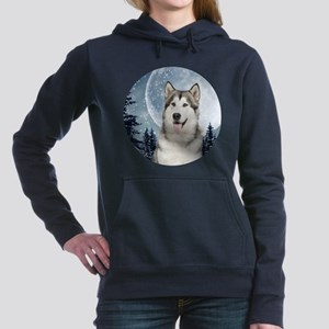 Winter Moon Husky Women's Hooded Sweatshirt