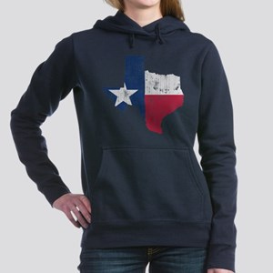Vintage Texas State Outline Flag Women's Hooded Sw