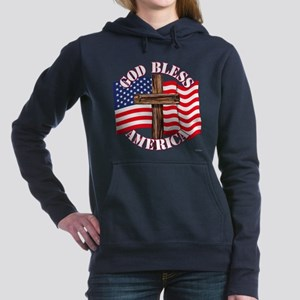 God Bless America With USA Flag and Cross Women's