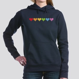 Rainbow Hearts Women's Hooded Sweatshirt