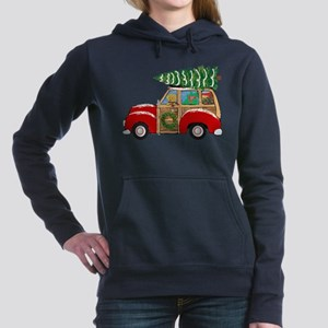 Vintage Christmas Woody Wagon Women's Hooded Sweat