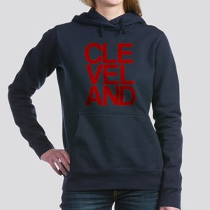Cleveland Red Bold Typographic Women's Hooded Swea