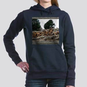 Old Cabin Window buck 4 Women's Hooded Sweatshirt
