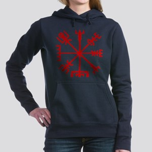 Blood Red Viking Compass : Vegvisir Women's Hooded
