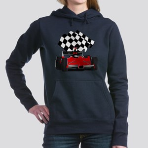 Red Race Car with Checke Women's Hooded Sweatshirt