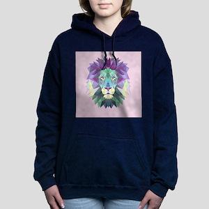 Triangle Colorful Lion Head Women's Hooded Sweatsh