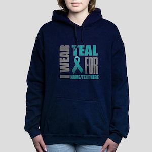 Teal Awareness Ribbon Cu Women's Hooded Sweatshirt