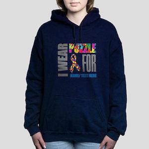 Autism Awareness Ribbon Women's Hooded Sweatshirt