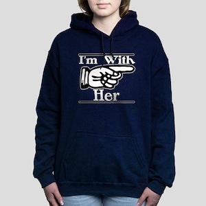 I'm With Her Left Women's Hooded Sweatshirt (Dark