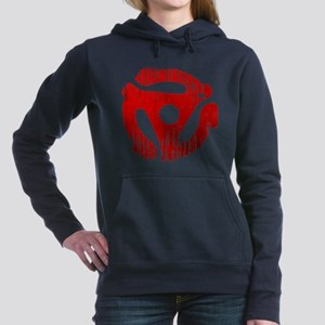 Distressed Red 45 RPM Adapter Woman's Hooded Sweat