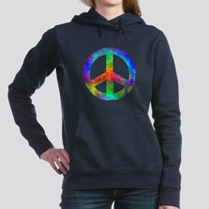Distressed Rainbow Peace Sign Women's Hooded Sweat