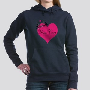 Personalizable Pink Heart with Crown Women's Hoode
