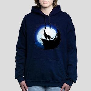 Wolf Howling at Blue Moon Women's Hooded Sweatshir