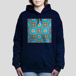 Orange and Blue Mid Century Modern Women's Hooded