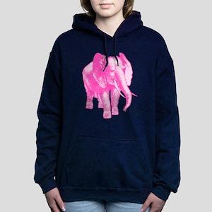 Pink Elephant Illustrati Women's Hooded Sweatshirt