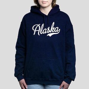 Alaska White Script Women's Hooded Sweatshirt