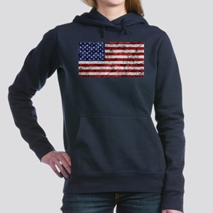 Grunge American Flag Women's Hooded Sweatshirt