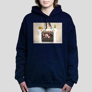 black santa stuck in fir Women's Hooded Sweatshirt