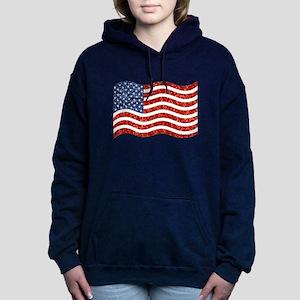 sequin american flag Women's Hooded Sweatshirt