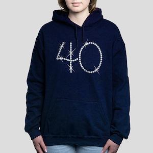 Faux Rhinestone 40th Bir Women's Hooded Sweatshirt