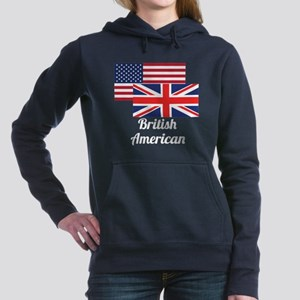 American And British Flag Women's Hooded Sweatshir