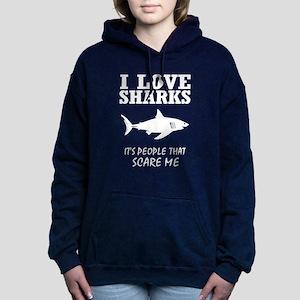 I Love Sharks, It's Peop Women's Hooded Sweatshirt