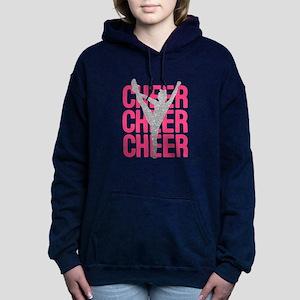 Pink Cheer Glitter Silho Women's Hooded Sweatshirt