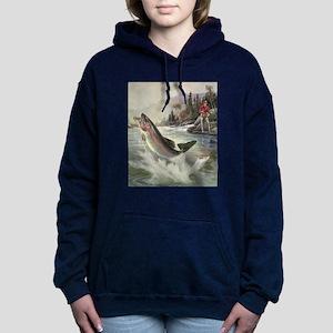 Vintage Fishing, Rainbow Women's Hooded Sweatshirt