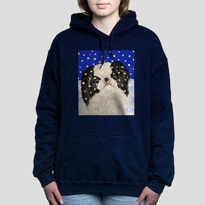 Snowflakes japanese chin Women's Hooded Sweatshirt