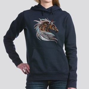 Warm colors horse drawin Women's Hooded Sweatshirt