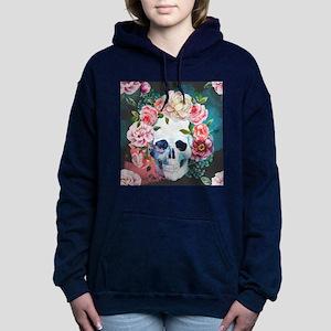 Flowers and Skull Women's Hooded Sweatshirt