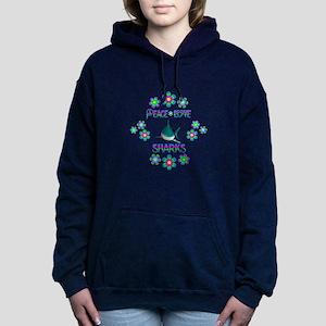 Peace Love Sharks Women's Hooded Sweatshirt