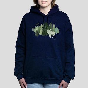 Moose in the Forest Women's Hooded Sweatshirt