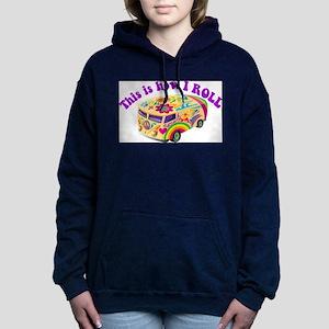 how i roll hippie retro bus van Hooded Sweatshirt