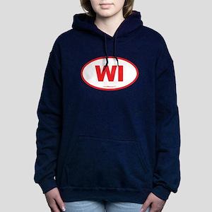 Wisconsin WI Euro Oval Women's Hooded Sweatshirt