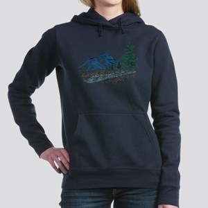 Sketch Mountain Scene Women's Hooded Sweatshir