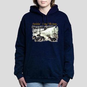 dachshun thru the snow trans Hooded Sweatshirt