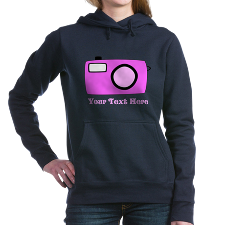 Pink Camera and Custom Text. Hooded Sweatshirt